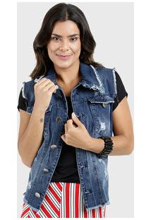 Colete Jeans Feminino Destroyed Five Jeans