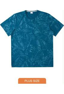 Camiseta Azul Escuro Tradicional Folhagem