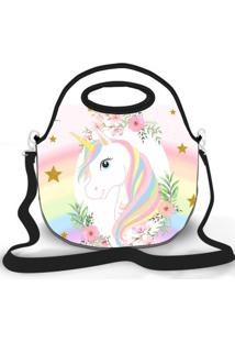 Bolsa Térmica Shop House Unicorn With Flowers Branco