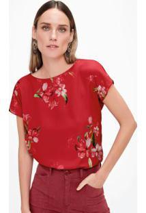 Blusa Vermelho Com Cetim Estampada