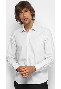 Camisa Listrada Lacoste Ml Regular Fit Masculina - Masculino-Cinza