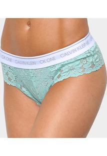 Calcinha Tanga Calvin Klein One Lace Renda - Feminino-Verde Claro