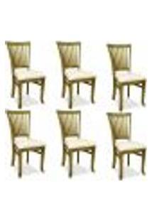 Kit 06 Cadeiras Para Sala De Jantar Cozinha Vitte Oregon Linho Rústico Bege - Gran Belo