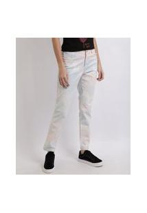 Calça Jeans Feminina Skinny Cintura Alta Tie Dye Multicor