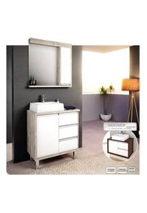 Gabinete Para Banheiro 70Cm Com 3 Gavetas Branco E Salina