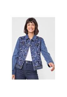 Jaqueta Jeans Desigual Paetês Azul
