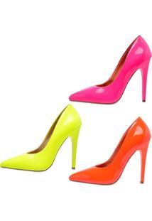 Kit 3 Pares Scarpin Neon Salto Alto Ellas Online Pink