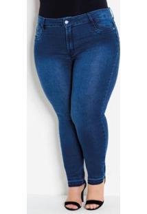 Calça Jeans Plus Size Com Barra Desfiada