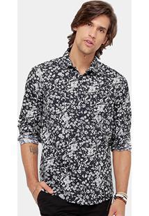 Camisa Colcci Full Print Flowers Bolso Masculina - Masculino