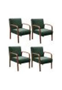 Kit 4 Cadeiras Anita Poltrona Decorativa Braço Madeira Para Escritório, Recepção, Sala De Estar Vários Ambientes - Veludo Verde