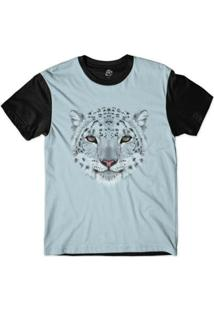 Camiseta Bsc Cara De Leopardo Branco Masculina - Masculino-Azul