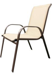 Cadeira Para Jardim Em Aço 92X54Cm Off White