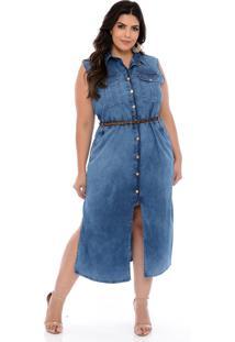 Vestido Elegance All Curves Chemise Jeans Plus Size Azul Com Cinto