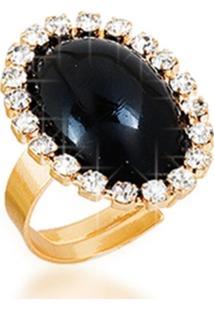 Anel Le Diamond Fabiana Acrílico E Micro Zircônias Dourado