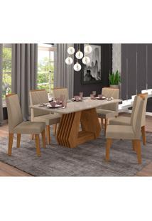 Conjunto De Mesa De Jantar Ágata Com Vidro 6 Cadeiras Nicole Suede Off White E Marrom Claro