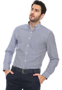 Camisa Richards Reta Listrada Branca/Azul
