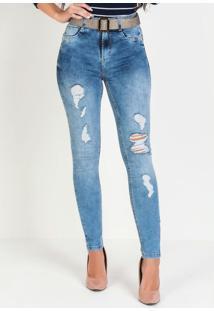 Calça Hot Pants Jeans Sawary Com Cinto Grátis