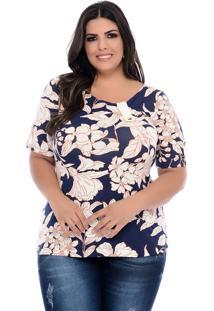 Blusa Plus Size Arimath Plus Azul Com Floral Off White