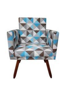 Poltrona Decorativa Nina Suede Triângulo Azul - Ds Móveis