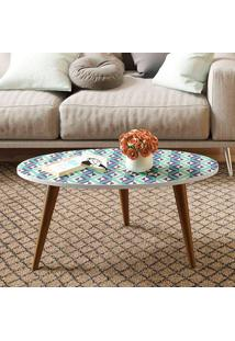 Mesa Oval Retrô – Be Mobiliário - Branco / Estampa Azul