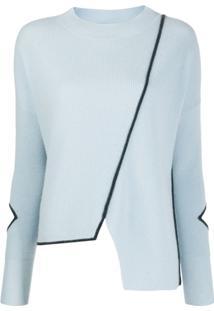 Pinko Blusa Assimétrica Com Acabamento Contrastante - Azul