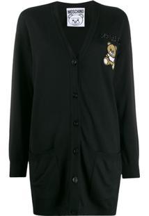 Moschino Cardigan Com Botões E Logo - Preto