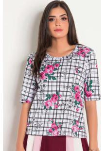 Blusa Floral E Xadrez Moda Evangélica