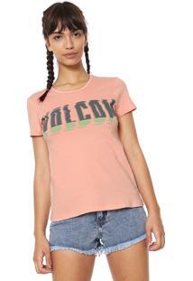 Camiseta Volcom Logo Rosa