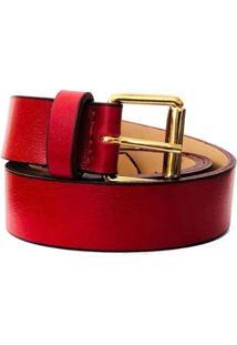 Cinto Cintos Exclusivos Couro Fivela Simples 3Cm Feminino - Feminino-Vermelho