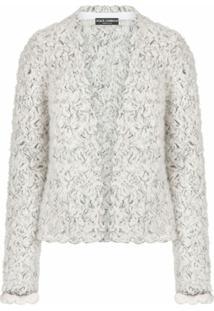 Dolce & Gabbana Cardigan Metálico De Tricô - Branco