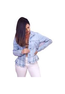 Jaqueta Alcance Jeans Babado Recortes Gode