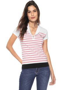 Camisa Polo Aleatory Listrada Branca/Rosa