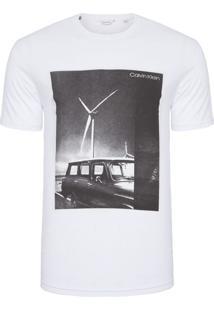 Camiseta Masculina Slim Estampa Carro - Branco