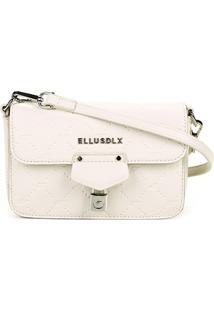 Bolsa Ellus Flap Shoulder Bag Monograma Feminina - Feminino-Off White