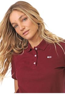 Camisa Polo Tommy Jeans Classic Vinho