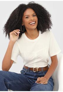Camiseta Colcci Recortes Off-White
