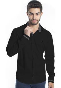 Camisa Tony Menswear Com Elastano Slim Preta