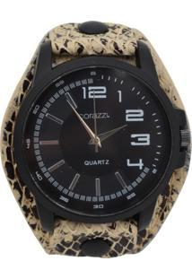 Relógio Corazzi Leather Deluxe Snake Preto