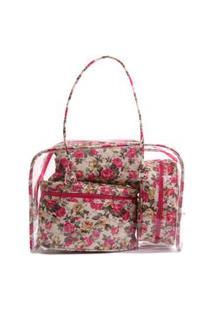 Kit Com 3 Necessaire Real Arte Floral Rosa