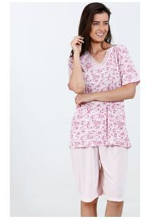 Pijama Feminino Estampa Flores Manga Curta Marisa