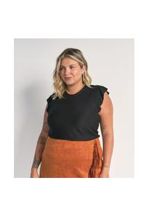 Blusa Regata Texturizada Com Babados Nos Ombros Curve & Plus Size   Ashua Curve E Plus Size   Preto   Eg