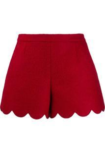 Red Valentino Short Valentino Com Acabamento Ondulado - Vermelho