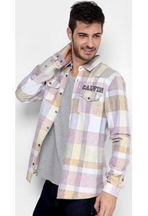 Camisa Calvin Klein Xadrez Com Bolso Masculina - Masculino-Bege