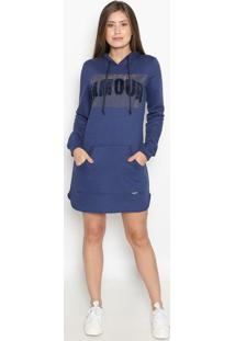 Vestido Com Bolso & Termocolantes - Azul Marinho & Prateluluzinha