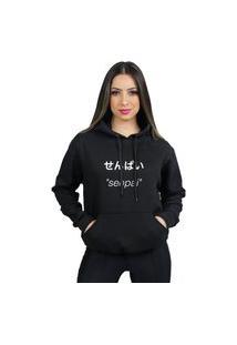 Blusa De Frio Senpai Moleton Feminino Com Capuz E Bolso Canguru Flanelado Moletom 70% Algodão 30% Poliéster Preço Varias Cores