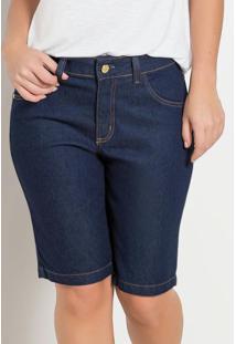 Bermuda Jeans Cintura Média Azul Escura