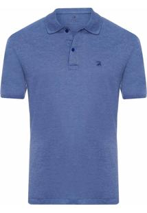 Polo Masculina Oxford Manga Curta - Azul