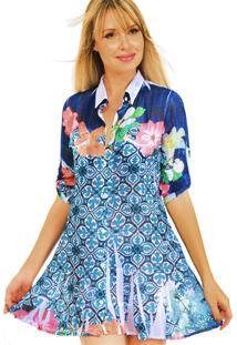 Vestido Chemise 101 Resort Wear Meia Manga Longa Evase Babados Estampado Azul