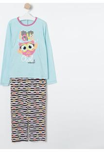 Pijama Coruja- Azul Claro & Branco- Puketpuket