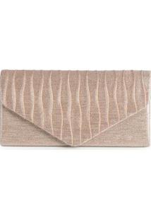 Bolsa Clutch Feminina Envelope Plissado Dourado